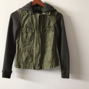 Hooded combo olive denim jacket
